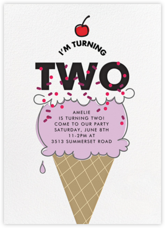 Cherry on Top (Two) - Purple - Paper + Cup - First birthday and baby birthday invitations