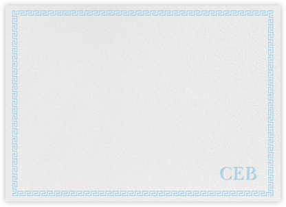 Greek Border Monogram - Light Blue - Jonathan Adler - Personalized Stationery