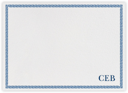 Greek Border Monogram - Blue - Jonathan Adler - Baby and kids' stationery