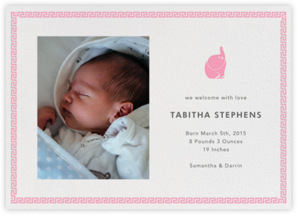 Baby Elephant - Pink - Jonathan Adler - Birth Announcements