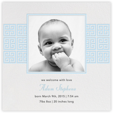Greek Key Stripe - Blue - Jonathan Adler - Birth Announcements