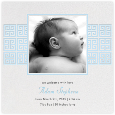 Greek Key Stripe - Blue - Jonathan Adler - Birth Announcements