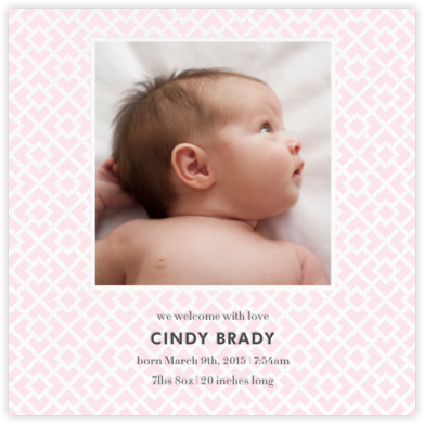 Nixon (Photo) - Pink - Jonathan Adler - Birth Announcements