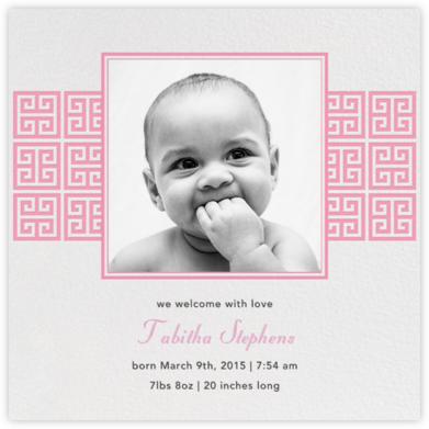 Greek Key Stripe - Pink - Jonathan Adler - Birth Announcements