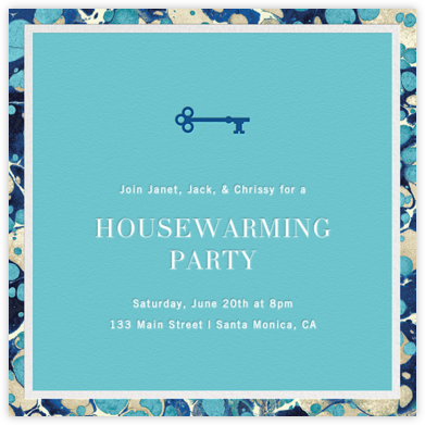 Oil Drop - Aquamarine Border - Jonathan Adler - Jonathan Adler invitations
