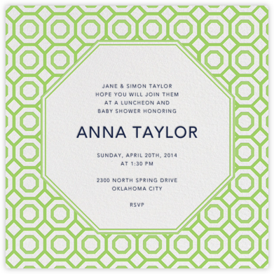 Nixon - Green - Jonathan Adler - Baby Shower Invitations