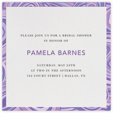 Malachite (Invitation) - Purple - Jonathan Adler - Bridal shower invitations