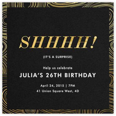 Malachite (Invitation) - Surprise - Jonathan Adler - Adult birthday invitations