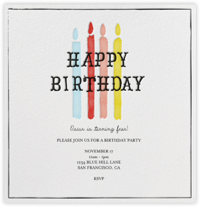 Blow Out the Candles - Four - Mr. Boddington's Studio - Adult Birthday Invitations