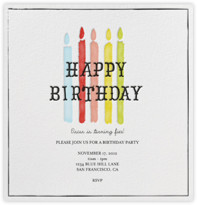 Blow Out the Candles - Five - Mr. Boddington's Studio - Online Kids' Birthday Invitations