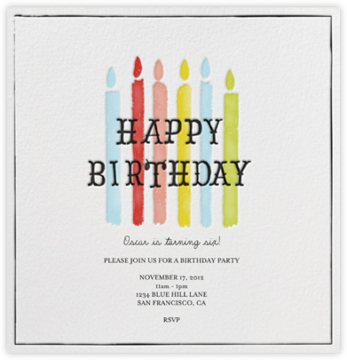 Blow Out the Candles - Six - Mr. Boddington's Studio - Kids' Birthday Invitations