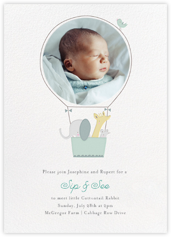 First Flight - Mint - Little Cube - Online Baby Shower Invitations