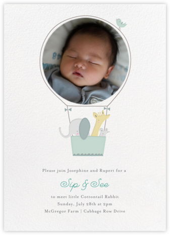 First Flight - Mint - Little Cube - Baby Shower Invitations