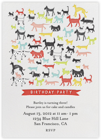 Calling all Dogs - Tomato - Mr. Boddington's Studio - Birthday invitations