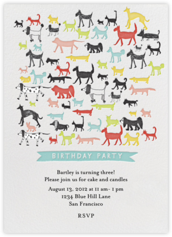 Calling all Dogs - Sri Lanka - Mr. Boddington's Studio - Birthday invitations