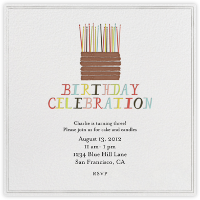 Chocolate Cake - Square - Mr. Boddington's Studio - Online Kids' Birthday Invitations