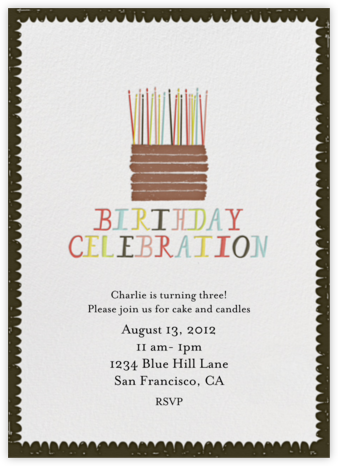 Chocolate Cake - Black - Mr. Boddington's Studio - Adult birthday invitations