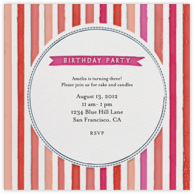 Chocolate or Vanilla Ice Cream - Pinks - Mr. Boddington's Studio - Birthday invitations