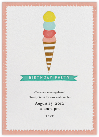 Jimmies on the Top - Coral - Mr. Boddington's Studio - Birthday invitations