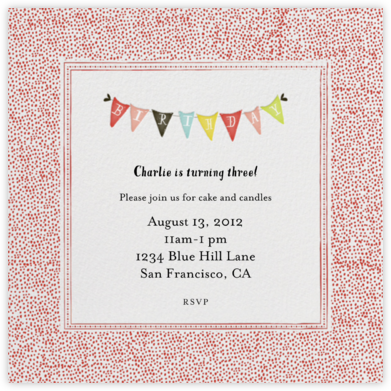 Ticker Tape - Tomato - Mr. Boddington's Studio - Online Kids' Birthday Invitations