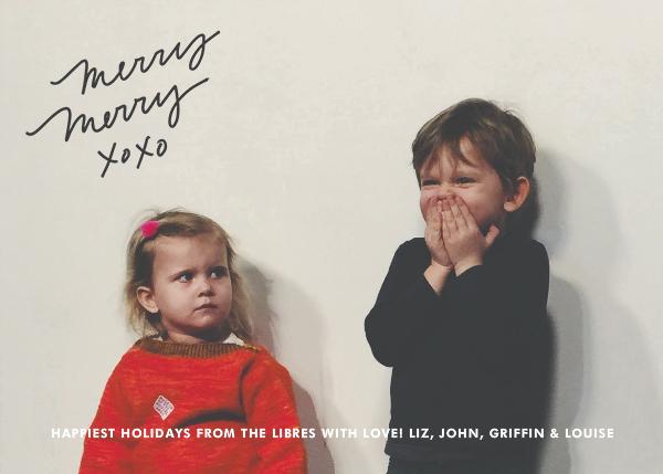Merry Merry XOXO - Slate - Linda and Harriett - Holiday cards