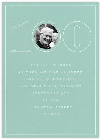 Milestone Portrait (One Hundred) - Celadon - Paperless Post - Milestone birthday invitations