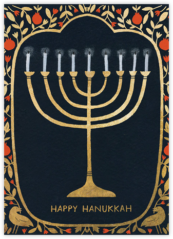 Hanukkah Gold (Yelena Bryksenkova) - Red Cap Cards - Hanukkah cards