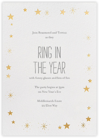 Stars over Tiny Town - Gold - Little Cube - New Year's Eve Invitations