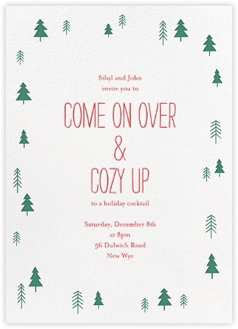 Tiny Town Forest - Green - Little Cube - Winter Party Invitations