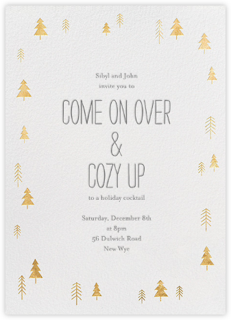 Tiny Town Forest - Gold - Little Cube - Winter Party Invitations