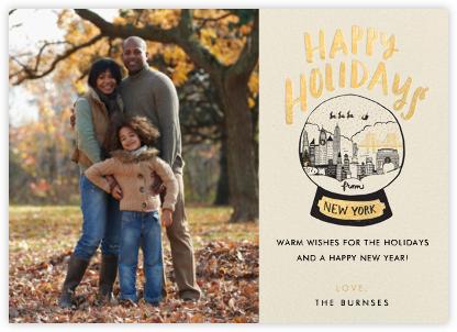New York Snow Globe (Photo) - Gold - Hello!Lucky - Holiday Cards