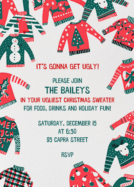 Against Sweater Judgment - Hello!Lucky - Holiday party invitations
