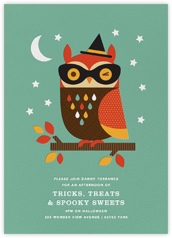 Owl in Disguise -  Green - Petit Collage - Halloween invitations