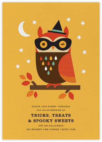 Owl in Disguise - Yellow - Petit Collage - Halloween invitations
