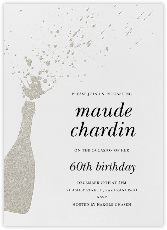 Champers - Silver - Paperless Post - Adult Birthday Invitations