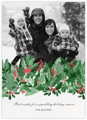 Holly Hedge - Paperless Post - Photo Christmas cards