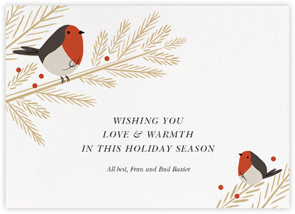 Redbreast Wishes - Paperless Post - Holiday Cards