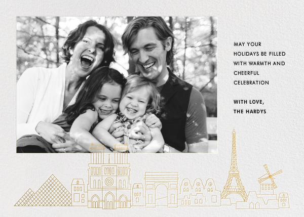 Paris Skyline View (Photo) - White/Gold - Paperless Post -