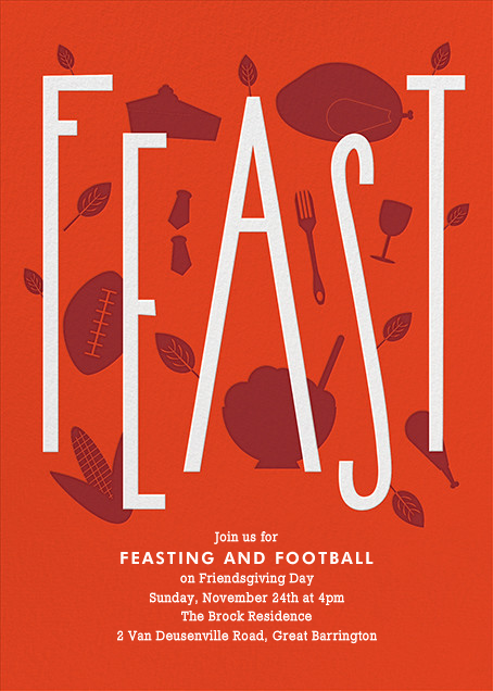 Feasting and Football - Paperless Post - Thanksgiving invitations