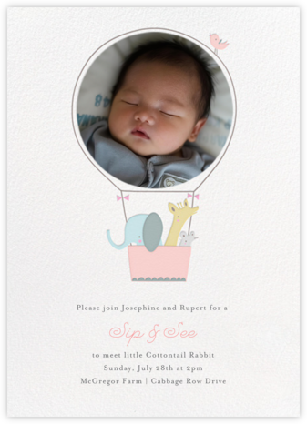 First Flight - Pink - Little Cube - Elephant Baby Shower Invitations