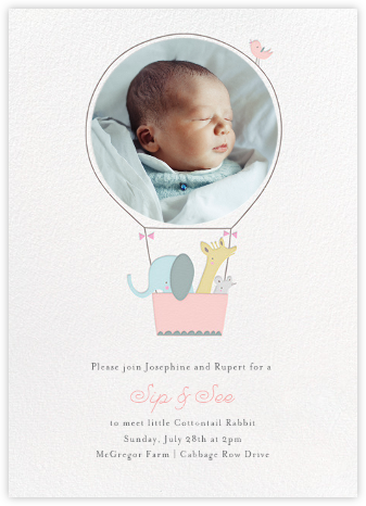 First Flight - Pink - Little Cube - Baby shower invitations