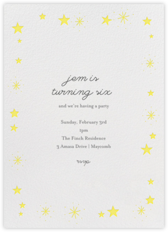 Stars over Tiny Town - Yellow - Little Cube - Online Kids' Birthday Invitations