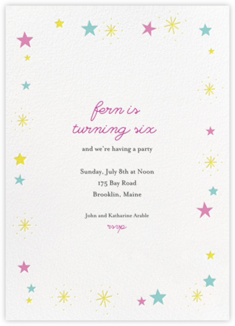 Stars over Tiny Town - Pink/Blue - Little Cube - First Birthday Invitations