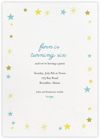 Stars over Tiny Town - Blue/Yellow - Little Cube - First Birthday Invitations