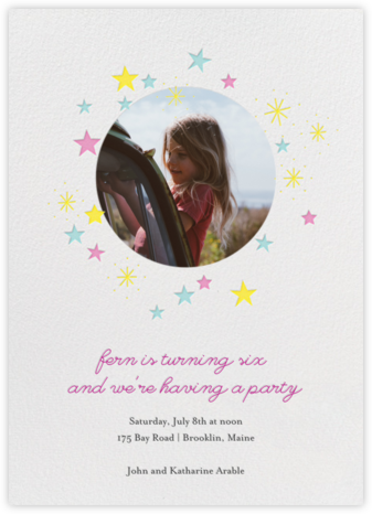 Stars over Tiny Town (Photo) - Pink Multicolor - Little Cube - Online Kids' Birthday Invitations