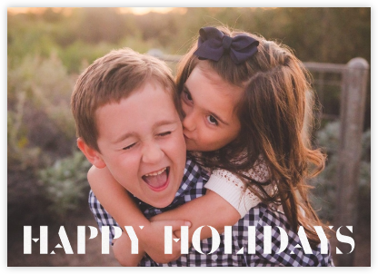 Stencilled Celebration - White - Paperless Post - Holiday Cards