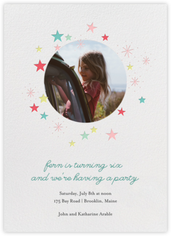 Stars over Tiny Town (Photo) - Coral Multicolor - Little Cube - First Birthday Invitations