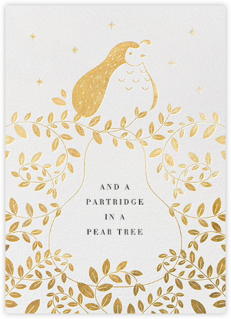 Partridge and Pear - Gold - Paperless Post - Christmas Cards