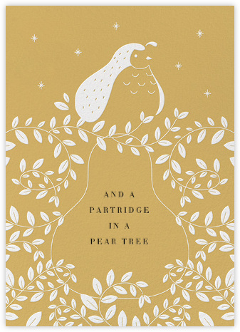 Partridge and Pear - Apricot - Paperless Post - Holiday Cards