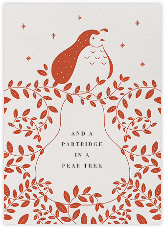 Partridge and Pear - Blood Orange - Paperless Post - Holiday Cards